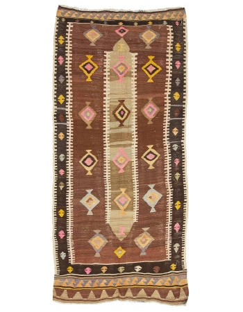 "Vintage Decorative Turkish Kars Kilim Rug - 4`9"" x 9`8"""