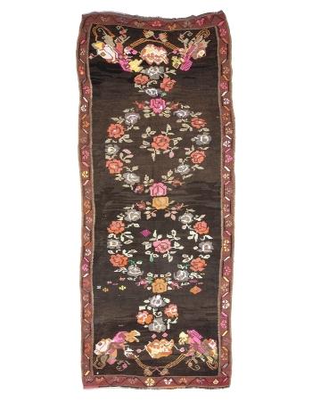 "Floral Vintage Turkish Kilim Rug - 5`3"" x 13`7"""