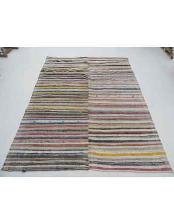 "Large Striped Vintage Turkish Rag Rug - 8`10"" x 11`7"""