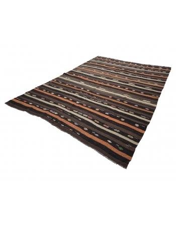 "Striped Vintage Goat Hair Kilim Rug - 7`9"" x 9`11"""