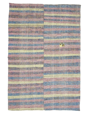 "Striped Vintage Turkish Rag Rug - 6`7"" x 9`10"""