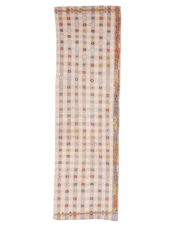 "Vintage Cotton Decorative Kilim Runner - 2`10"" x 9`5"""