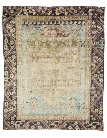 "Distressed Vintage Turkish Rug - 4`1"" x 5`3"""