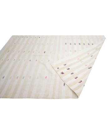 "Modern Vintage Turkish Cotton Kilim Rug - 7`1"" x 10`6"""