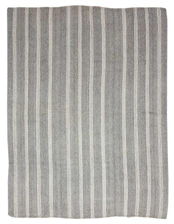 "Large White & Gray Vintage Kilim Rug - 9`0"" x 11`8"""