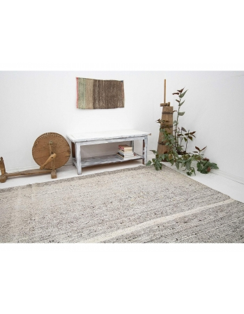 "Gray Large Vintage Modern Turkish Kilim Rug - 8`0"" x 12`3"""