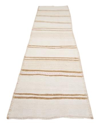 "Vintage White & Brown Kilim Rug - 2`11"" x 11`3"""