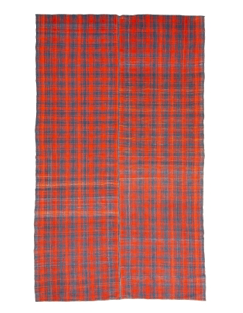 "Orange & Gray Vintage Kilim Rug - 6`11"" x 11`8"""