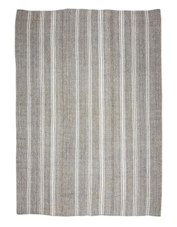"Large Gray & White Striped Kilim Rug - 9`3"" x 12`6"""