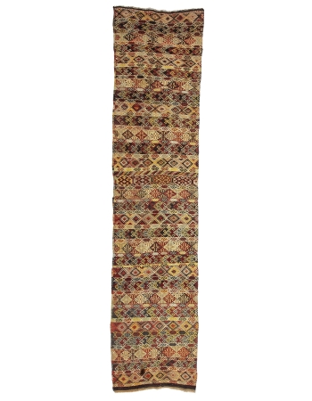 "Embroidered Vintage Turkish Kilim Runner - 2`8"" x 12`4"""