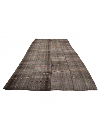 "Vintage Gray Modern Turkish Kilim Rug - 7`3"" x 14`1"""
