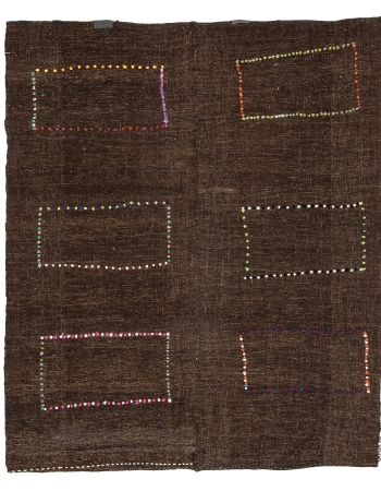 "Brown Modern Vintage Decorative Kilim Rug - 7`3"" x 8`6"""