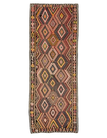"Handwoven Vintage Turkish Kilim Rug - 4`6"" x 11`10"""