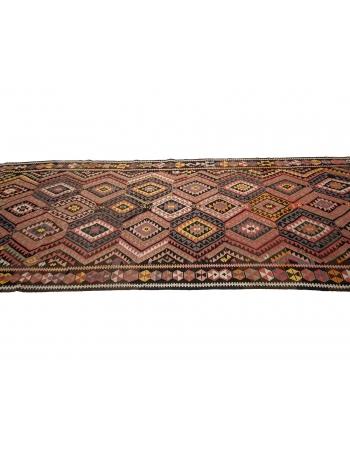 "Handwoven Vintage Turkish Kilim Rug - 4`6"" x 11`10"""