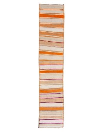 "Orange Striped Vintage Wool Kilim Runner - 2`7"" x 12`6"""