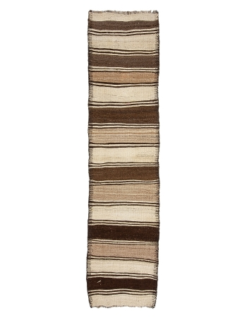 "Ivory & Brown Striped Vintage Kilim Runner - 2`10"" x 11`7"""