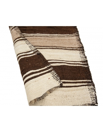 "Ivory & Brown Striped Vintage Kilim Runner - 2`10"" x 11`7"""