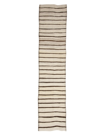 "White & Brown Wool Striped Kilim Runner - 2`7"" x 13`1"""