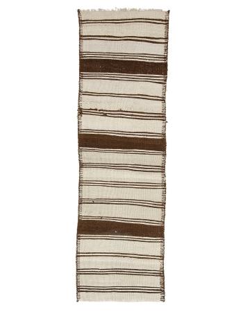 "Striped Vintage Neutral Wool Kilim Runner - 2`9"" x 9`7"""
