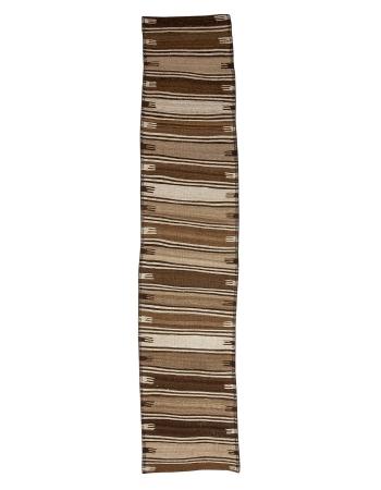 """Natural Brown Wool Vintage Kilim Runner - 2`9"""" x 14`1"""""""
