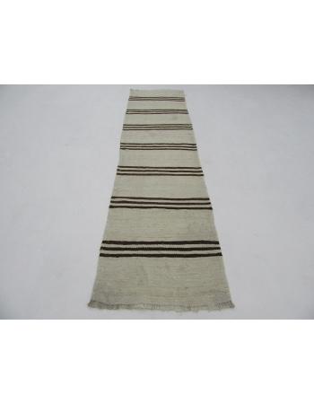 "Vintage Brown & White Striped Kilim Runner - 2`7"" x 10`2"""