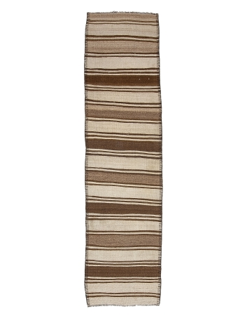 "Vintage Neutral Wool Kilim Runner - 2`8"" x 11`0"""