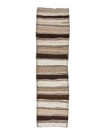 "Vintage Brown & White Wool Kilim Runner - 2`8"" x 10`0"""