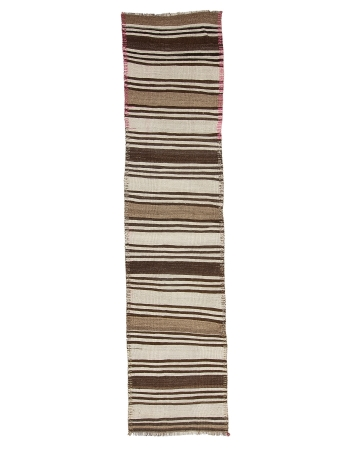 "Striped White & Brown Vintage Kilim Runner - 2`7"" x 11`6"""