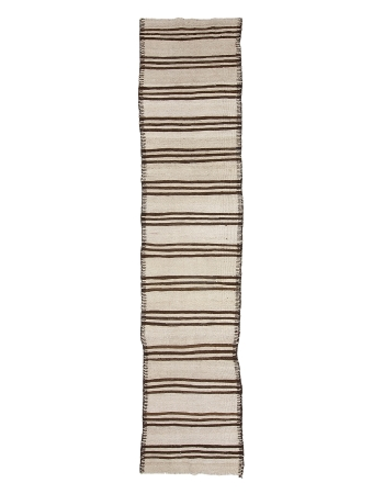 "Brown & White Neutral Kilim Runner - 2`8"" x 13`7"""