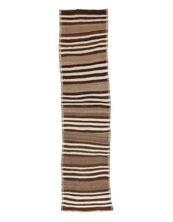 """Natural Brown Wool Kilim Runner - 2`7"""" x 10`6"""""""