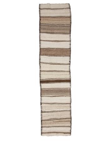 "White & Brown Natural Wool Kilim Runner - 2`9"" x 12`1"""