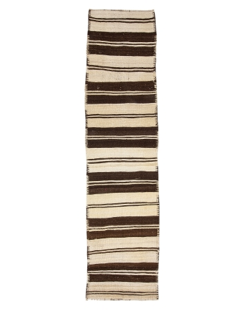 "Brown & Ivory Vintage Striped Kilim Runner - 2`10"" x 11`11"""
