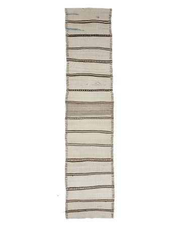 "White & Brown Striped Vintage Kilim Runner - 2`8"" x 13`5"""