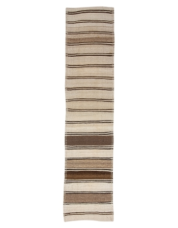 "Cream & Brown Striped Vintage Kilim Runner - 2`7"" x 11`8"""