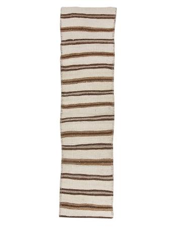 "Ivory & Brown Vintage Striped Kilim Runner - 2`7"" x 10`7"""