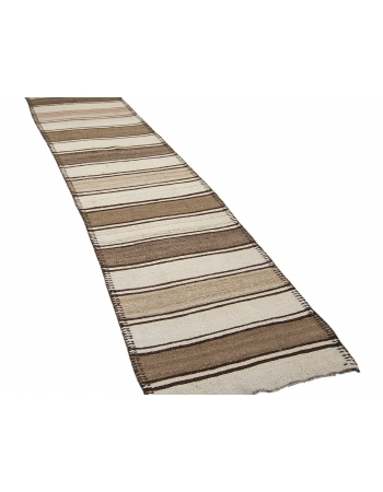"Brown & Ivory Striped Vintage Kilim Runner - 2`8"" x 12`6"""