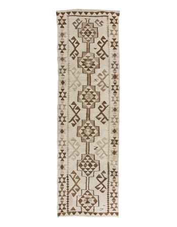 """Vintage Ivory & Brown Herki Kilim Runner - 3`2"""" x 11`4"""""""