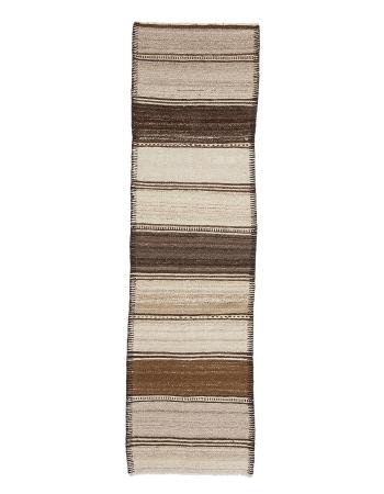 """Brown & Ivory Vintage Kilim Runner - 2`8"""" x 9`8"""""""