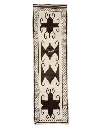 """Decorative Vintage Brown & White Runner - 3`8"""" x 12`7"""""""