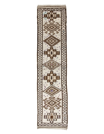 "Decorative Vintage Herki Wool Runner Rug - 2`10"" x 12`2"""