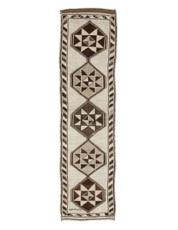 """Brown & Cream Vintage Wool Runner - 2`11"""" x 11`9"""""""