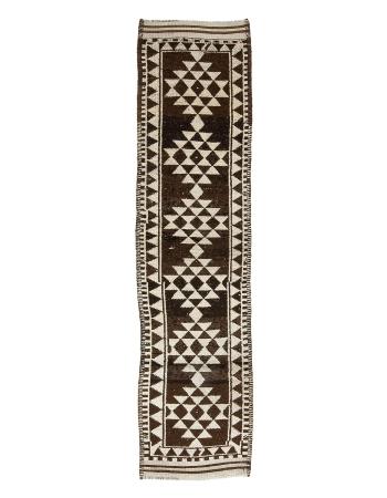 """Brown Vintage Natural Wool Runner Rug - 2`8"""" x 11`3"""""""