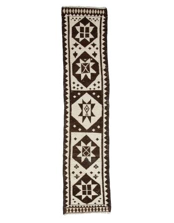 "White & Brown Natural Modern Runner Rug - 2`11"" x 13`5"""