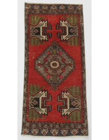 "Vintage Wool Mini Decorative Rug - 1`5"" x 3`1"""