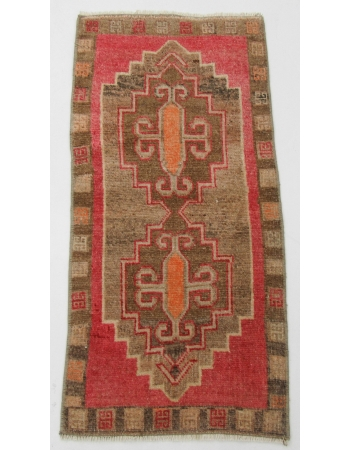 "Wool Turkish Vintage Mini Rug - 1`7"" x 3`5"""