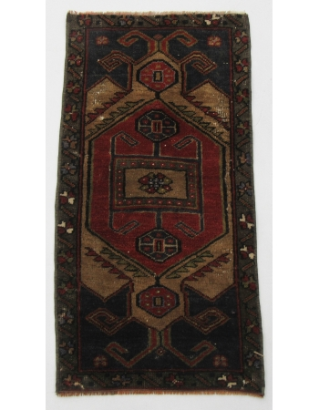 "Turkish Vintage Mini Wool Rug - 1`7"" x 3`1"""