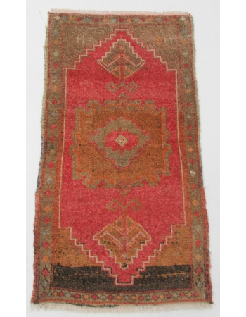 "Wool Mini Vintage Turkish Kars Rug - 1`11"" x 3`6"""
