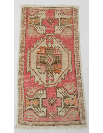 "Decorative Mini Vintage Turkish Rug - 1`7"" x 3`2"""