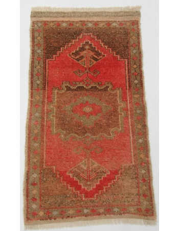 "Vintage Wool Mini Turkish Rug - 1`9"" x 3`2"""