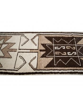 """Unique Cream & Brown Vintage Wool Runner - 3`5"""" x 11`4"""""""